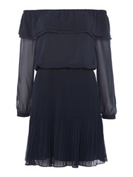 Michael Kors Longsleeve Off Shoulder Pleated Dress Navy