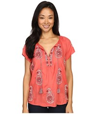 Lucky Brand Embroidered Short Sleeve Top Spiced Coral Women's Short Sleeve Pullover Orange