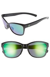 Adidas Women's Excalate 58Mm Mirrored Sunglasses Shiny Black Green Mirror Shiny Black Green Mirror