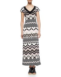 Melissa Masse Zigzag V Neck Maxi Dress Sand Zig Zag