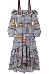 Lemlem Kente Lisa Cold Shoulder Canvas Trimmed Printed Cotton Gauze Maxi Dress Navy