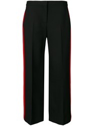 Alexander Mcqueen Side Stripe Cropped Trousers Silk Polyamide Wool Black
