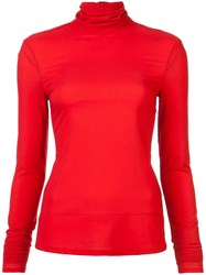 Sally Lapointe Roll Neck Top Red