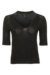 Topshop Metal Yarn Choker T Shirt Black