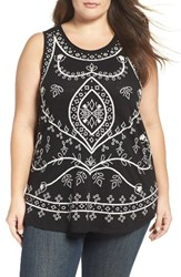 Lucky Brand Plus Size Women's Eyelet Embroidered Cotton Tank