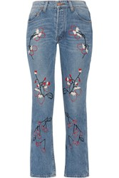 Bliss And Mischief Sweet Jam Embroidered High Rise Straight Leg Jeans Mid Denim