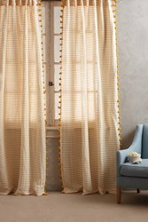 Anthropologie Pom Tassel Curtain Yellow