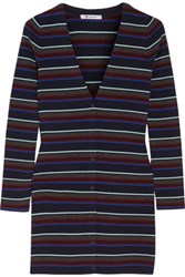 Alexander Wang T By Striped Merino Wool Cardigan Navy