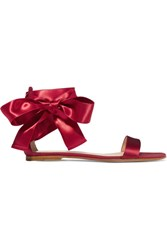 Gianvito Rossi Lace Up Satin Sandals Burgundy