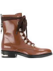 Toga Pulla Embellished Lace Up Boots Women Leather 36 Brown