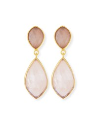Rose Quartz Double Drop Earrings Dina Mackney