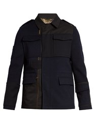 Valentino Multi Patch Point Collar Field Jacket Navy Multi