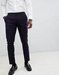 Burton Menswear Super Skinny Fit Suit Trousers In Navy And Red Check