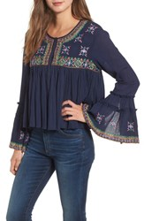 Kas New York Megan Embroidered Cotton Gauze Blouse Navy