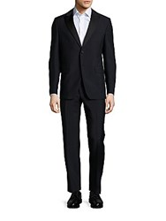 Valentino Mohair Blend Two Button Suit Black