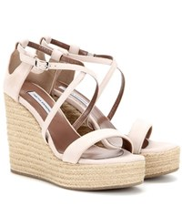 Tabitha Simmons Jenny 110 Suede Wedge Sandals Pink