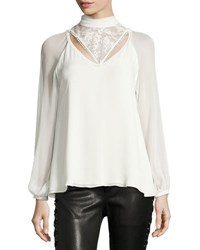 Haute Hippie Through The Looking Glass Mock Neck Silk Blouse W Lace White