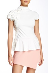 Gracia Turtle Neck Peplum Blouse White