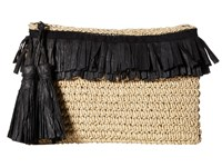 San Diego Hat Company Bsb1712 Paper Crochet Clutch With Two Row Frayed Paper Opening Natural Black Clutch Handbags Beige