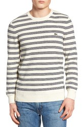 Lacoste Men's Waffle Stitch Stripe Sweater Vanilla Plant Navy Blue