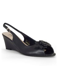 Chesca Floral Detail C Fit Wedge Sandal Navy