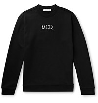 Mcq By Alexander Mcqueen Embroidered Loopback Cotton Jersey Sweatshirt Black