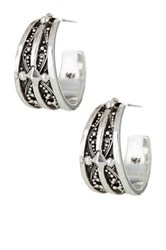 Lois Hill Sterling Silver Haveli Small Granulated Hoop Earrings Metallic
