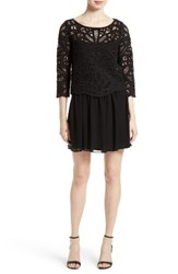 Joie Women's Jordie Crochet Overlay Chiffon Dress