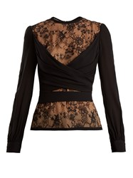Elie Saab Lace Insert Silk Blend Wrap Top Black