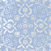 Flavor Paper Dauphine Wallpaper Sample Swatch Bywater Blue On Silver Mylar Sample