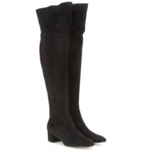 Gianvito Rossi Suede Over The Knee Boots Black