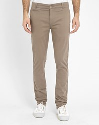 Knowledge Cotton Apparel Beige Slim Fit Stretch Chinos