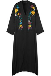 Etro Embroidered Hammered Silk Blend Maxi Dress Black