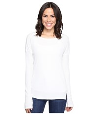 Brigitte Bailey Keely Long Sleeve Top With Front Slits Winter White Women's Clothing