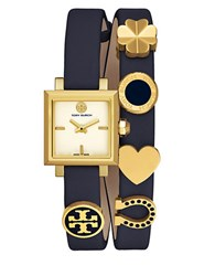 Tory Burch The Saucy Leather Strap Watch Navy Blue
