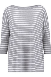 Bailey 44 Sarah Striped Stretch Jersey Top Light Gray