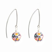 Dorus Mhor Liberty Pepper Silver Marquise Earrings Pink Purple White