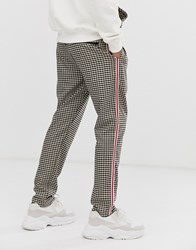 Criminal Damage Smart Joggers In Brown Check Beige