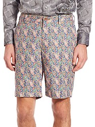 Robert Graham Lake Havasu Paisley Printed Linen Shorts Blue