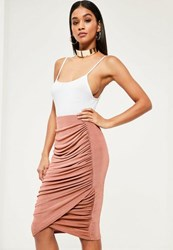 Missguided Pink Slinky Ruched Side Midi Skirt