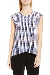 Vince Camuto Print Cap Sleeve Wrap Front Blouse White