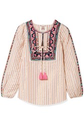 Figue Caraiva Embroidered Striped Metallic Cotton Blend Blouse Ivory Gbp