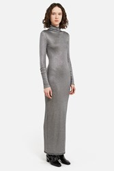 Ann Sofie Back Ribbed Lamaƒa Turtleneck Dress Silver