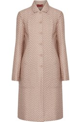 Missoni Reversible Metallic Crochet Knit And Quilted Shell Coat Taupe