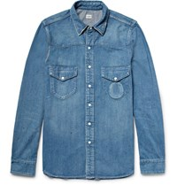 Chimala Slim Fit Distressed Denim Western Shirt Mid Denim