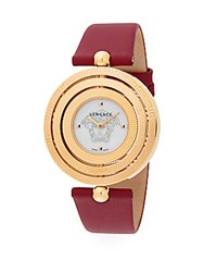 Versace Eon Goldtone Stainless Steel And Leather Watch Red Gold
