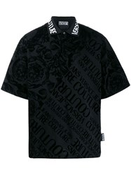 Versace Jeans Couture Baroque Print Polo Shirt Black
