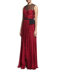 J. Mendel Sleeveless Embellished Plisse Gown Ruby Noir Red Noir