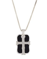 Stephen Webster Men's London Calling Onyx Cross Double Dog Tag Necklace Silver