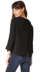 Vince Open Back Crew Blouse Black